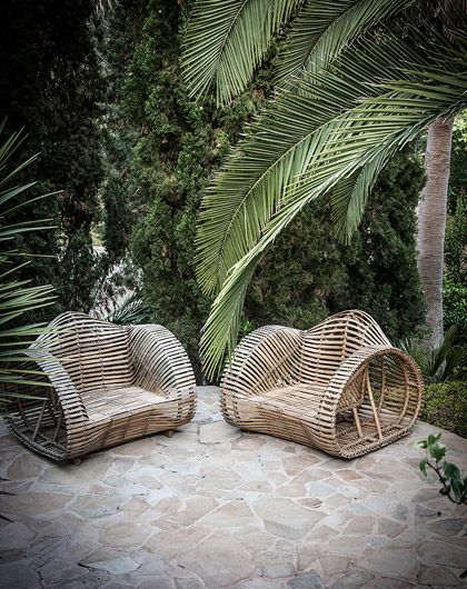 Wicker Chairs and Palms